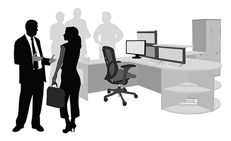 silhouette of business people talking around computer network