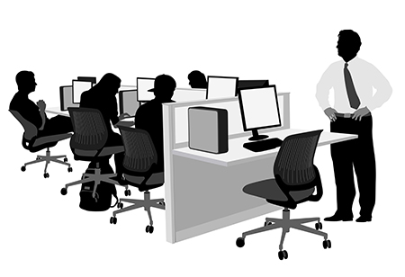 business computer network with people working graphic