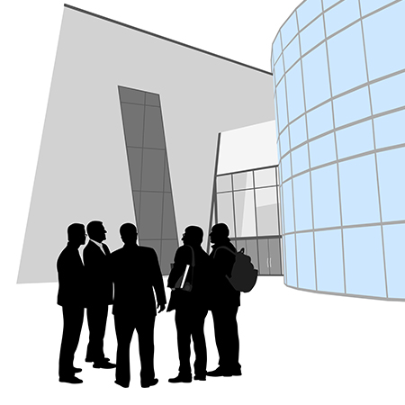 business people outside of modern office graphic